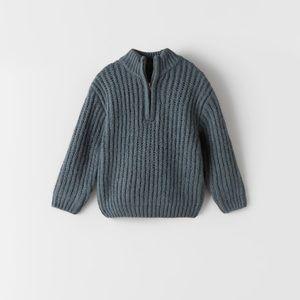 Zara Kids steel blue knit zipper sweater